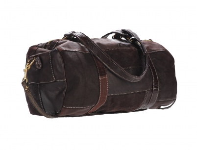 Handmade Chocolate Patchwork Leather handbag, Douglas Duffle